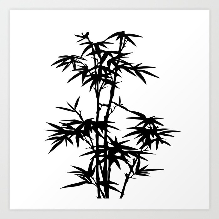 700x700 Bamboo Silhouette Black And White Art Print By Lebensartdesign