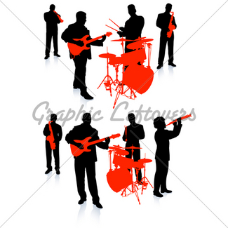 325x325 Live Band Musicians Silhouette Collection Gl Stock Images