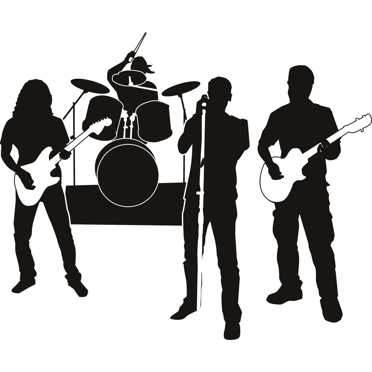 1200x1200 Rock Band Silhouette Clipart