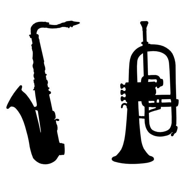 600x600 Saxophone And Trumpet Silhouette Svg Files Saxophones, Svg File