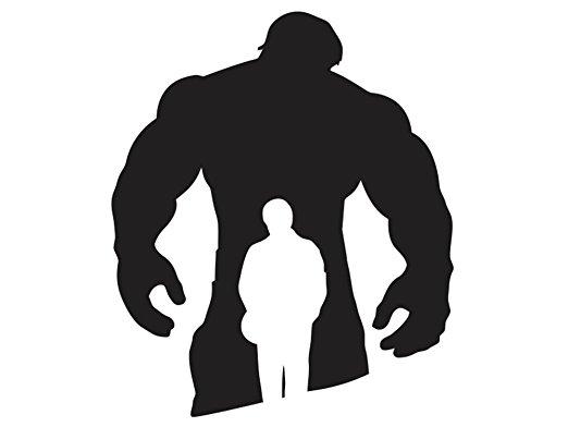 522x392 White Bruce Banner Hulk Silhouette 1 Decal Sticker
