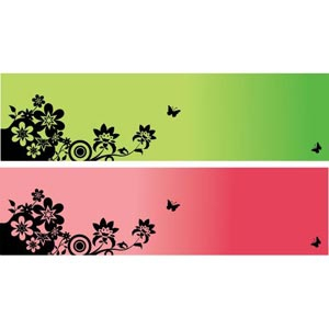 300x300 Vector Silhouette Butterfly On Floral Art Flower Banner Free