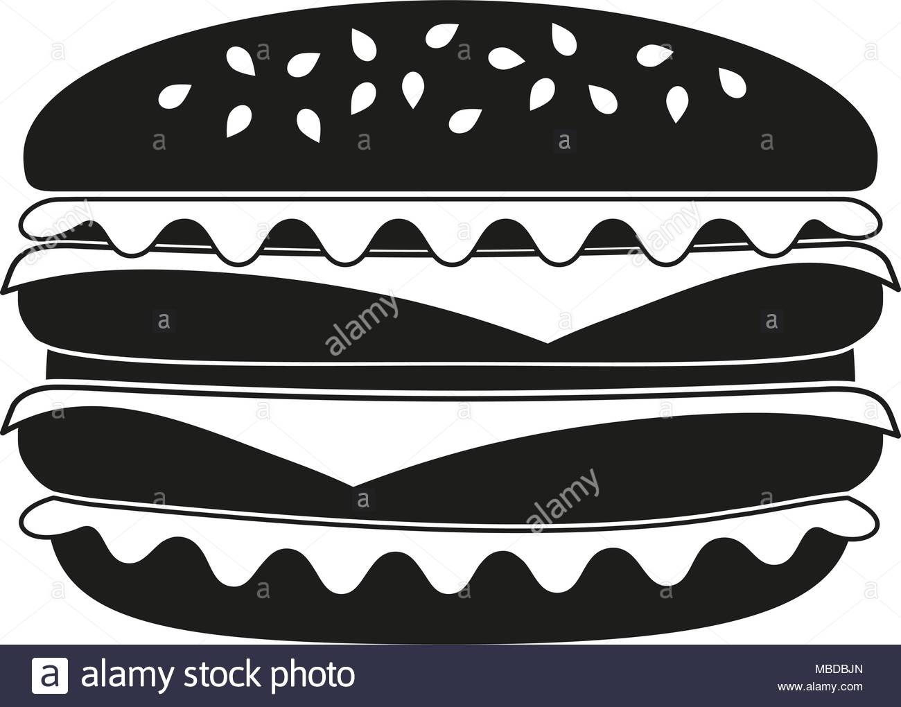 1300x1020 Burger Black And White Silhouette. Comfort Fastfood Vector