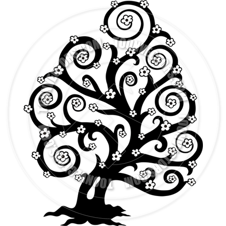 460x460 Cartoon Stylized Tree In Bloom Silhouette By Clairev Toon