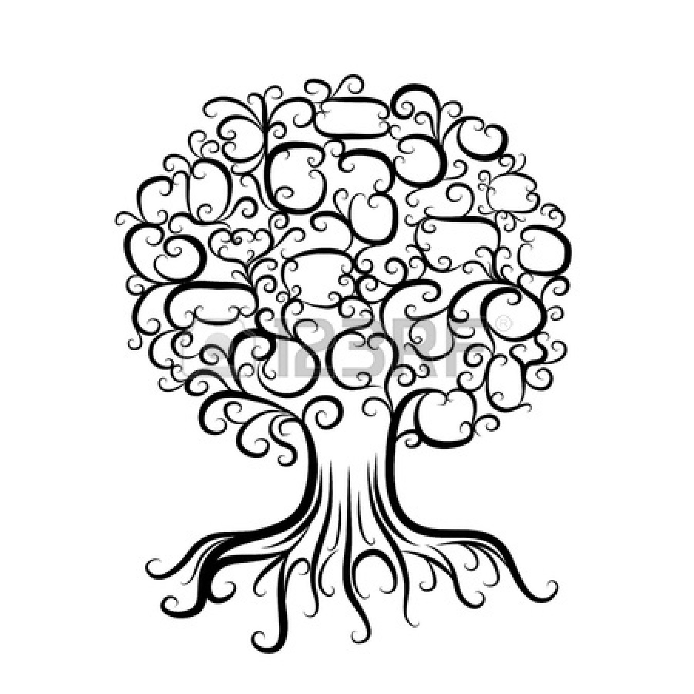 1350x1350 Ornamental Tree With Roots For Your Design Vector Desen Boyama