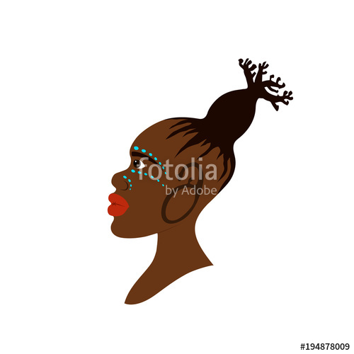 500x500 Vector Portrait Of African Woman With Traditional Hairstyle