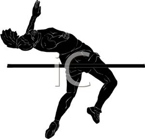 300x287 Black Silhouette Of A Female Athlete Clearing The High Bar Jump