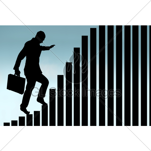 500x500 Businessman Climbing A Bar Chart Silhouette Gl Stock Images