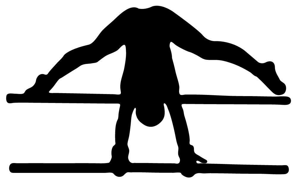 1000x615 Gymnastics Silhouette Style Front Flip Parallel Bars Wall Decal