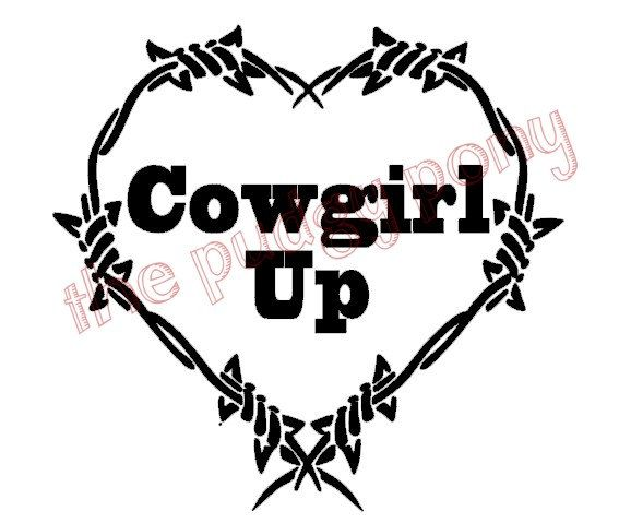 567x479 Cowgirl Up Barbed Wire Heart Vinyl Decal Choose By Thepudgypony