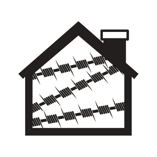 550x550 Silhouette House One Floor With Metallic Barbed Wire Icon