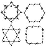 160x160 Barbed Wire Black Silhouettes Vector. Pattern Brush Stock Image