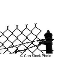 240x195 Barbed Wire And Spiked Mesh And Bar Fence Silhouette With Stock