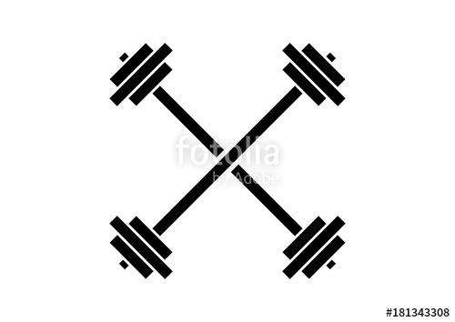 500x354 Line Art Simple Barbell Gym Cross Illustration Logo Silhouette