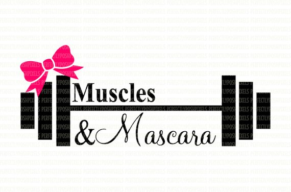 570x376 Muscles Amp Mascara Barbell Weights Fitness Svg Digital File Dxf Eps