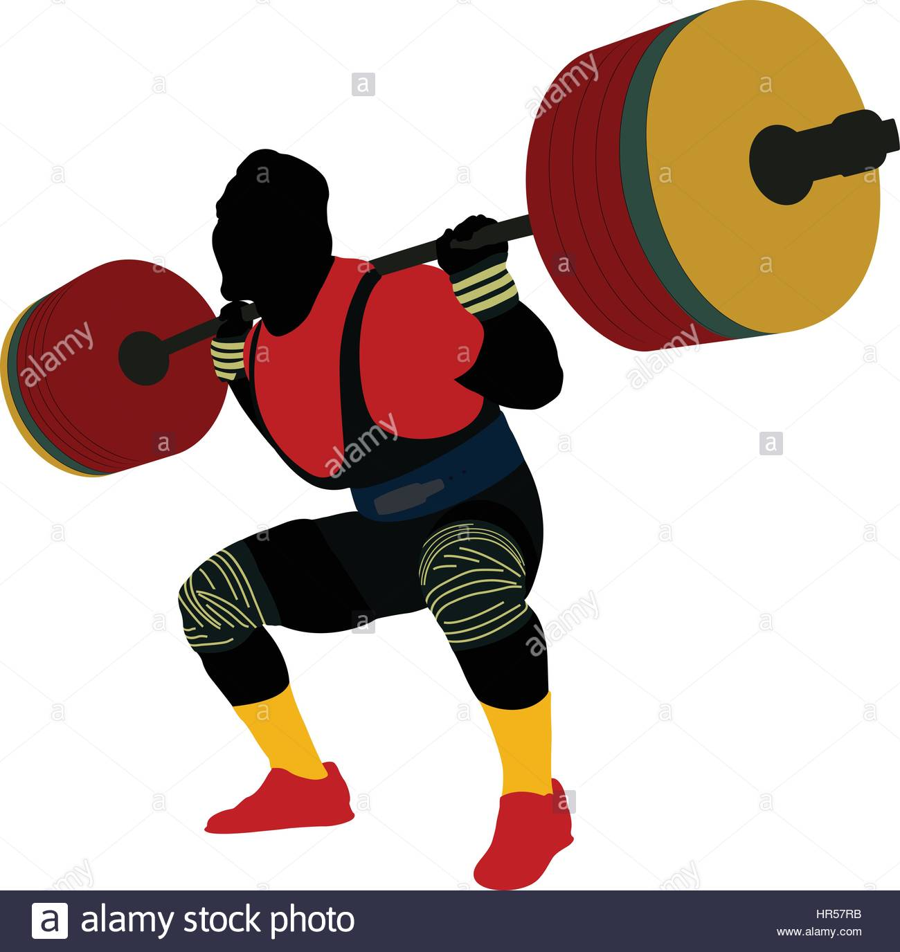 1300x1376 Male Athlete Powerlifter Squat Barbell Colored Silhouette Stock