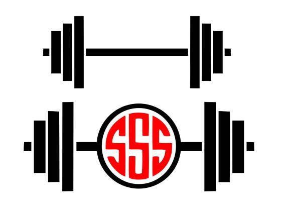 570x420 Barbell Svg Gym Svg Barbell Monogram Svg Workout Svg Cricut