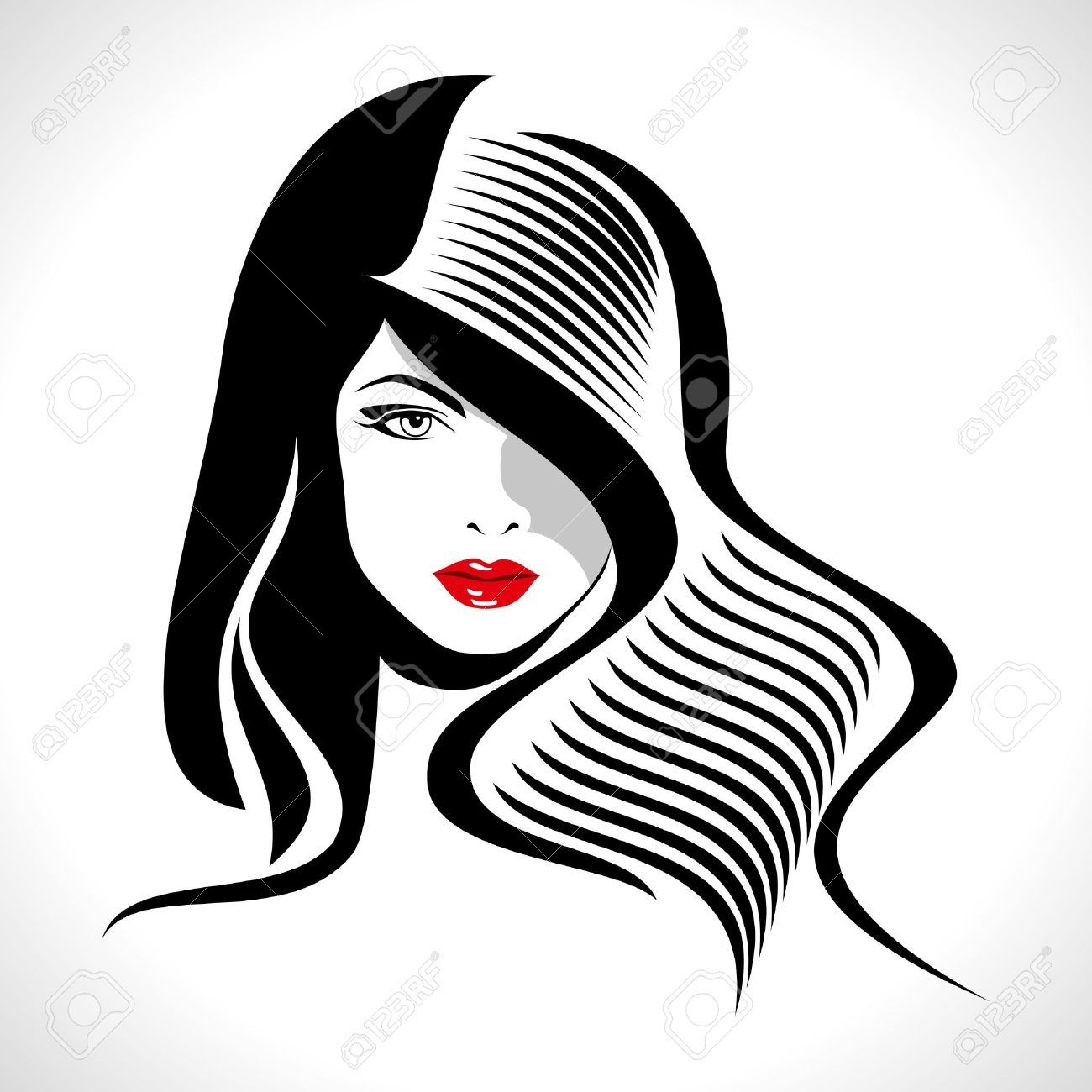 1300x1300 18173293 Beautiful Woman Silhouette Stock Vector Hair Hairdresser