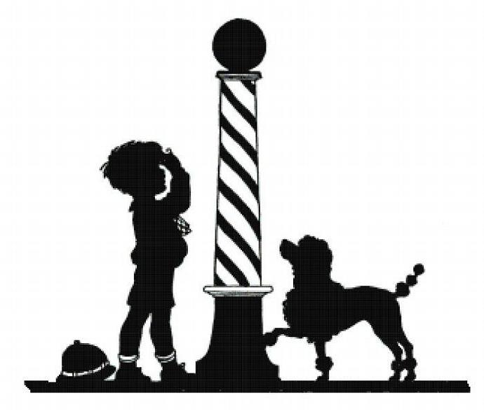 690x587 Barber Pole Boy And Poodle Dog Silhouette Cottagedecor