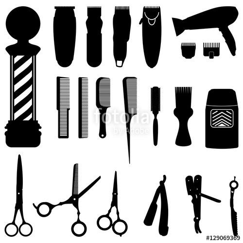 500x500 Hairdressing And Barber Shop Tools Silhouette Collection Stock