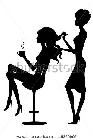 315x470 Vector Illustration Of Black Silhouette Hairdresser And Client