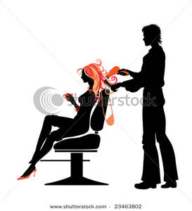273x300 Art Image A Silhouette Of A Man Cutting A Woman's Hair