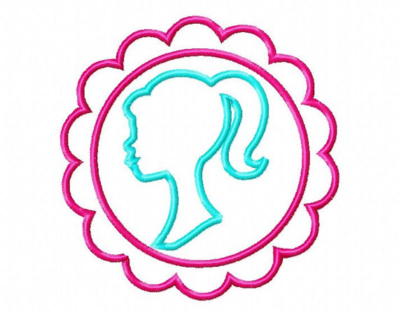 570x448 Barbie Head Applique With Frame, Machine Embroidery Design, 4