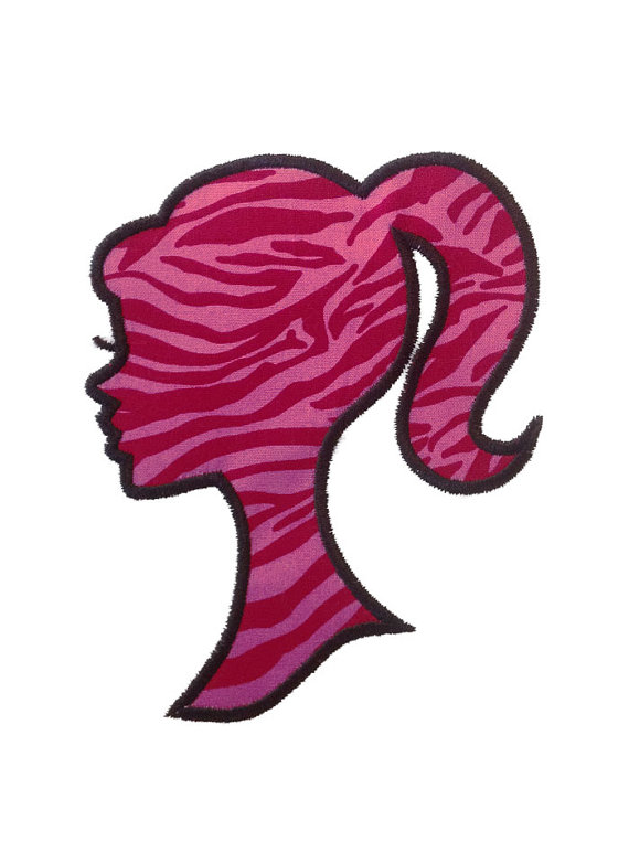 570x763 Applique Silhouette Girl With Ponytail Machine Embroidery Design
