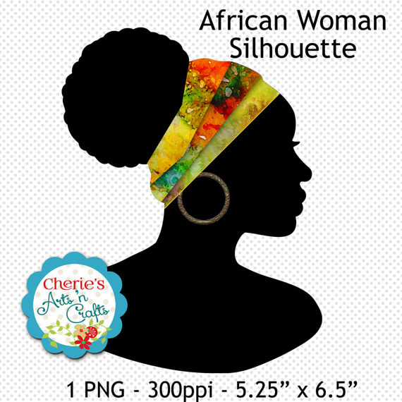 570x570 Beautiful African Woman With Headwrap Silhouette Silhouettes