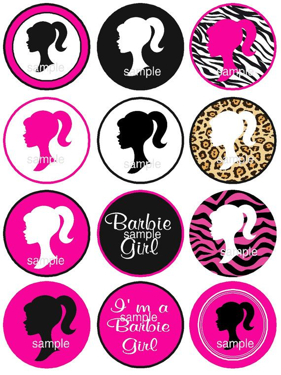 570x761 Barbie Silhouette Cupcake Toppers Instant Download By Jcsaccents