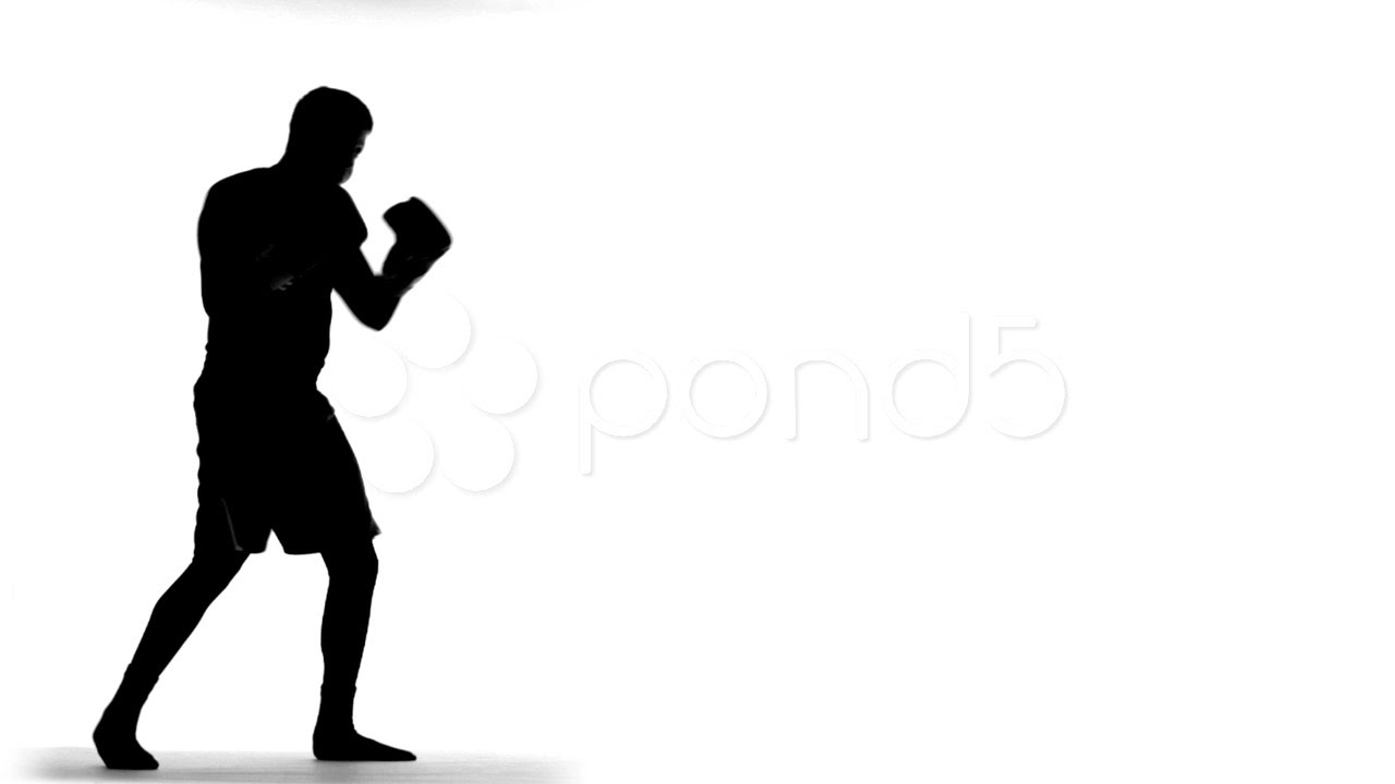 1280x720 Silhouette Of Boxer (Slow Motion). Stock Footage