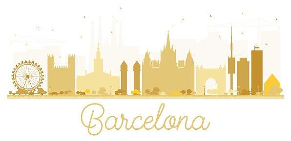 596x290 Barcelona City Skyline Golden Stock Vectors