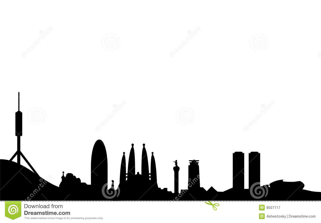 1300x903 Barcelona Skyline Silhouette Royalty Free Stock Photography