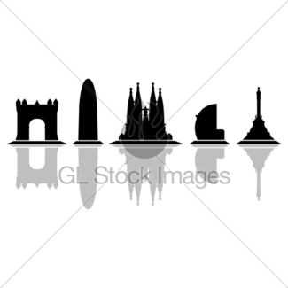 325x325 Barcelona Skyline Silhouette With Sunset Sky Gl Stock Images