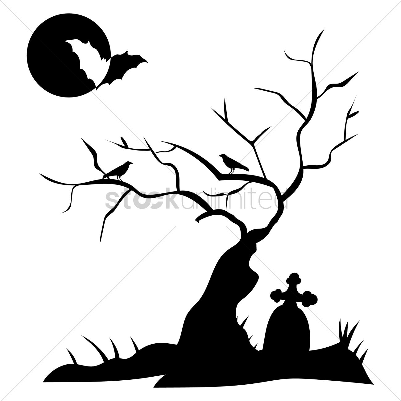 1300x1300 Silhouette Of Grave With Bare Tree Vector Image