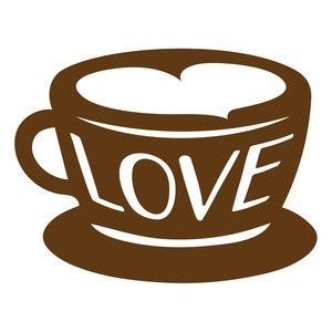300x300 Love Coffee Cup Silhouette Design, Coffee Cup And Silhouettes