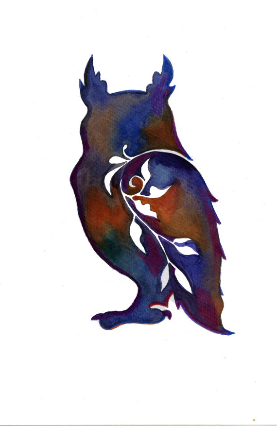570x877 Owl Forest Nursery Art Owl Silhouette Canvas Woodland Kids