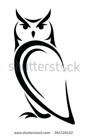 300x470 Owl Outline Vector Black Silhouette Of An Owl On A White