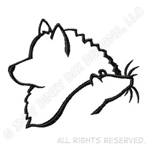 300x300 Keeshond And Rat Silhouette Embroidered T Shirt Sew Dog Crazy