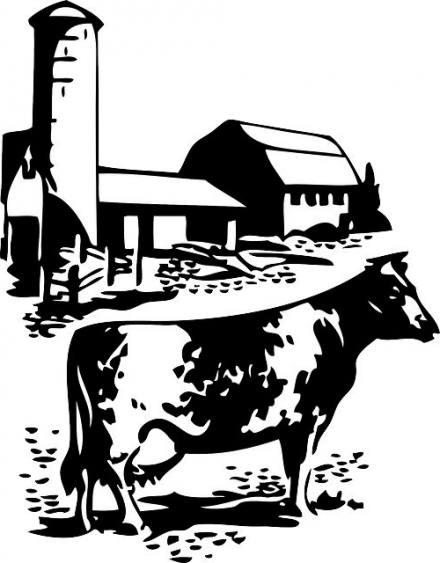 440x563 Barn Farm Cow Dairy Animal Animals Silhouette
