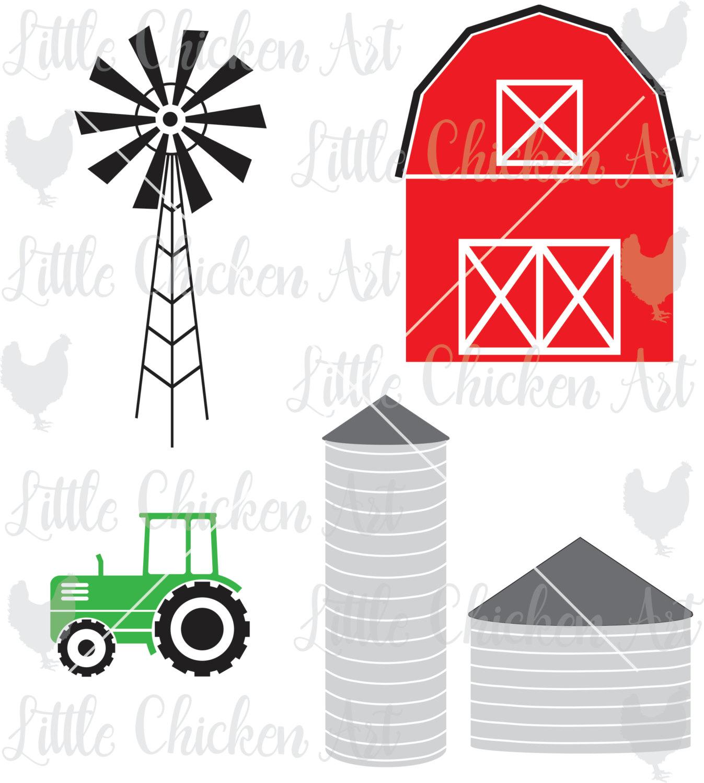 1347x1500 Farm Graphics Cut File Barn Silo Tractor Windmill