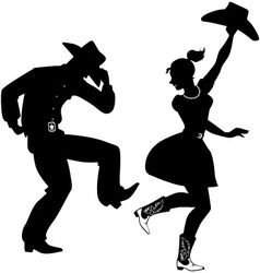 238x250 Silhouette Of Country Western Dancers Vector Decoupage
