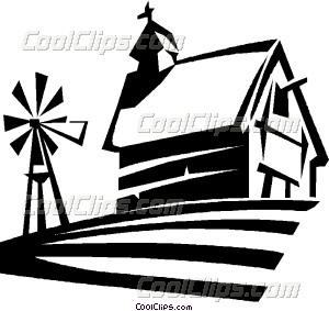300x283 Barn And Windmill Beside A Vector Clip Art