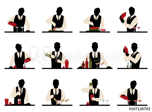 500x370 Set Of Silhouettes Of A Bartender Prepares Cocktails Vector Stoc