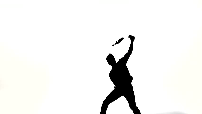 852x480 Silhouette Of Barman Man Showing Tricks With A Bottle On White