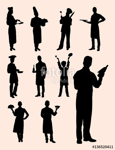 385x500 Chef, Waiter, Waitress Silhouette. Good Use For Symbol, Logo