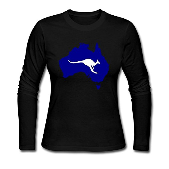 562x562 Women's Long Sleeve T Shirts, Australia Silhouette With Kangaroo