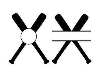 340x270 Baseball Bats Monogram Frames Svg Dxf File Instant Download