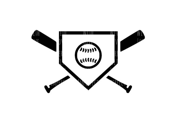 570x440 Baseball Home Plate Baseball Bat Digital Cut File (Svg, Silhouette