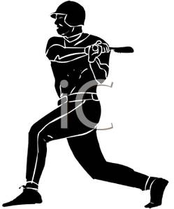 249x300 Silhouette Of A Baseball Player Batting At The Ball